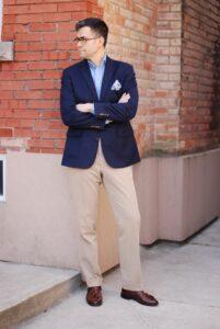 Business Casual Outfit by Hogtownrake Single Breasted Blazer with popover shirt cotton pocket square khakis and brown tassel loafers 201x300 - تعبیر جدید امروزی از پوشش مناسب کسب و کار برای رسیدن به موفقیت (۵ سطح لباس کاری)